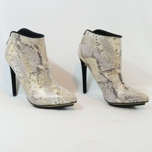 Michael Antonio Snakeskin Pointy Toe Booties
